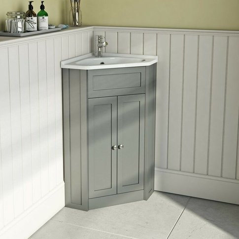 . Camberley Satin Grey Corner Floorstanding Vanity U...