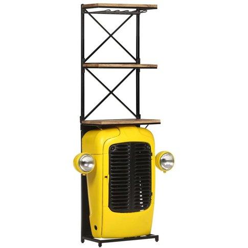 Tractor Wine Cabinet Yellow 49x31x170 Cm Solid Mango...