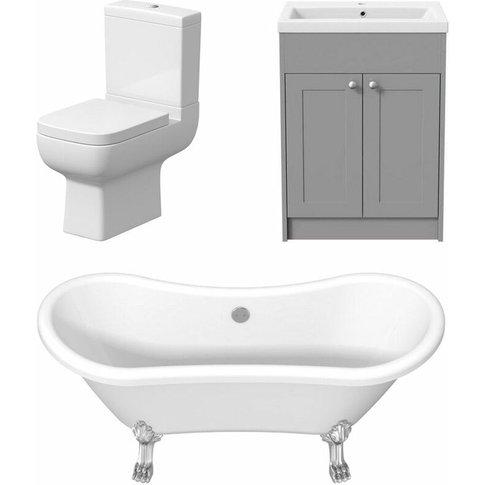 Traditional Freestanding Three Piece Bathroom Suite ...