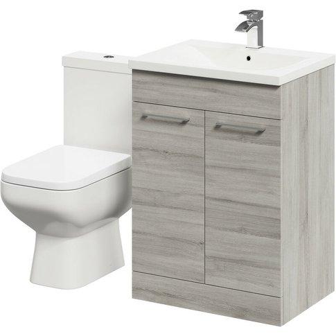 Turin Molina Ash 600mm 2 Door Vanity Unit & Toilet Suite - Wholesale Domestic
