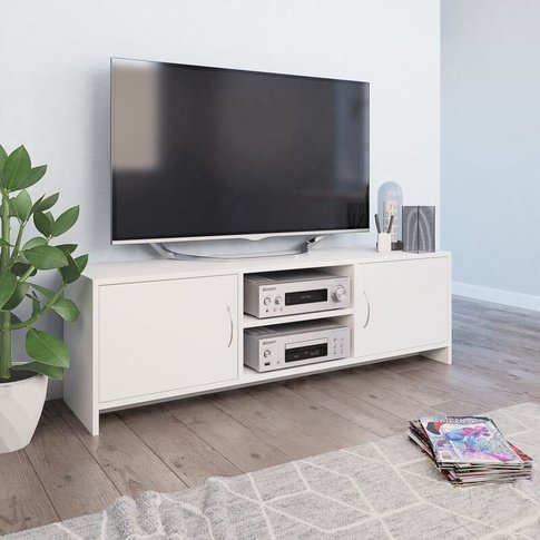 Youthup - Tv Cabinet White 120x30x37.5 Cm Chipboard