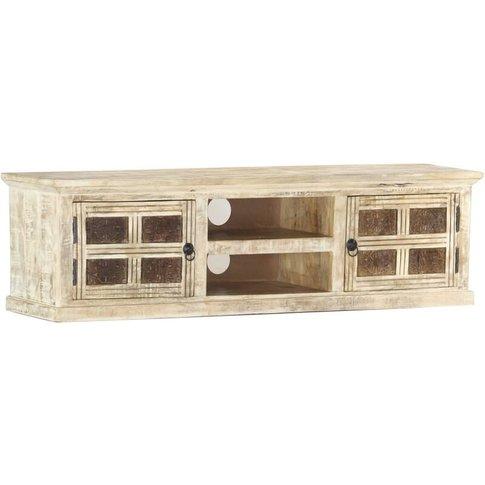 Vidaxl - Tv Cabinet White 130x30x36 Cm Solid Mango Wood