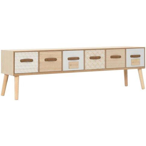 Vidaxl - Tv Cabinet With 6 Drawers 130x30x40 Cm Soli...