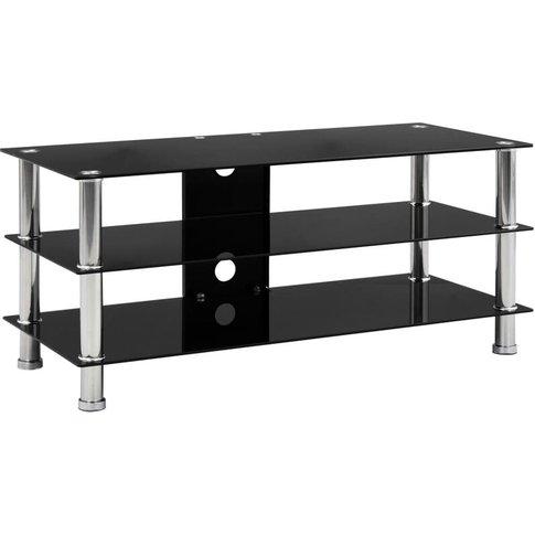 Tv Stand Tempered Glass Black 90x40x40 Cm - Vidaxl