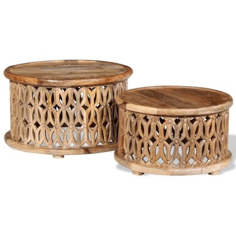 Two Piece Coffee Table Set Solid Mango Wood - Youthup