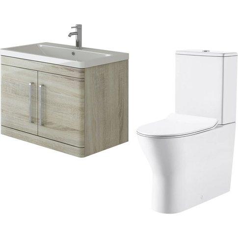 Ceti 800mm Wall Hung Oak Vanity Basin Cabinet Unit &...