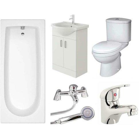 Rosina Vanity Unit, Toilet & Single Ended Bath Bathr...