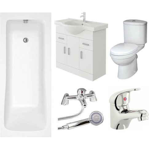 Veebath Sophia Vanity Unit, Toilet & Single Ended Ba...