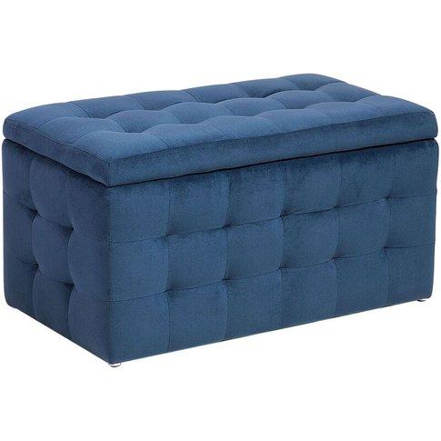 Velvet Fabric Storage Ottoman Dark Blue Michigan - Beliani