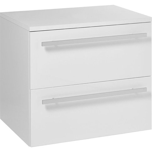 2 Drawer Wall Hung Vanity Unit 750mm Wide - White - ...