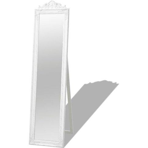 Free-Standing Mirror Baroque Style 160x40 Cm White -...