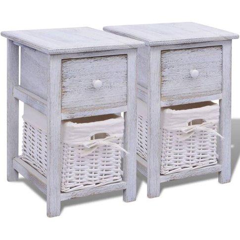 Bedside Cabinets Wood 2 Pcs White - Vidaxl
