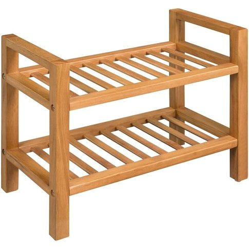 Shoe Rack With 2 Shelves 49.5x27x40 Cm Solid Oak Woo...