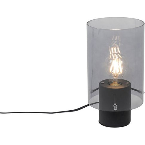 Modern Table Lamp Black With Smoke Glass - Vidra - Q...
