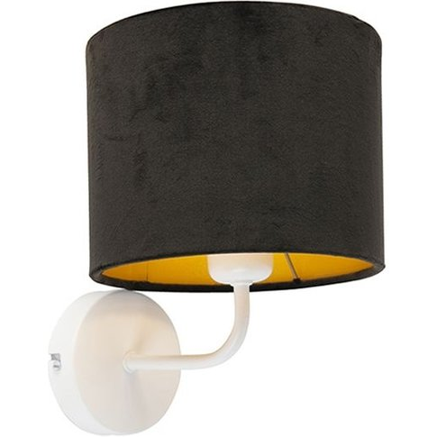 Vintage Wall Lamp White With Black Velor Shade - Mat...