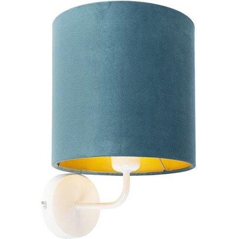 Vintage Wall Lamp White With Blue Velvet Shade - Matt - Qazqa