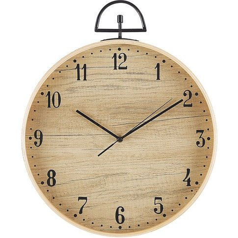 Wall Clock Ø 40 Cm Light Wood Opfikon - Beliani