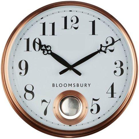 Wall Clock, Metal Pendulum, Copper Finish - Big Living