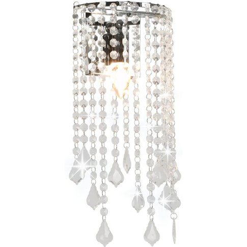 Wall Lamp With Crystal Beads Silver Rectangular E14 ...