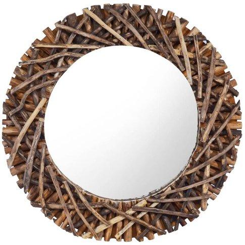 Wall Mirror 60 Cm Teak Round - Youthup