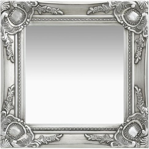 Wall Mirror Baroque Style 40x40 Cm Silver - Youthup