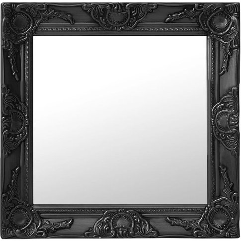 Wall Mirror Baroque Style 50x50 Cm Black - Youthup