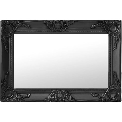 Wall Mirror Baroque Style 60x40 Cm Black - Youthup