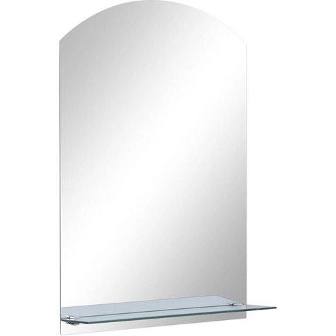 Wall Mirror With Shelf 40x60 Cm Tempered Glass - Vidaxl