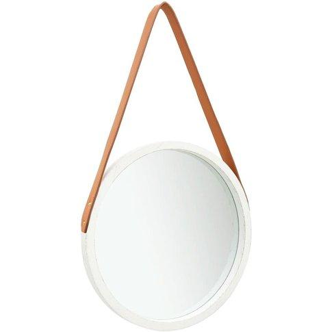 Vidaxl - Wall Mirror With Strap 40 Cm White