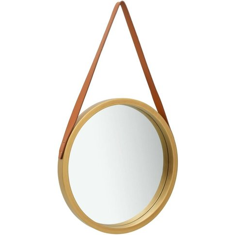 Wall Mirror With Strap 50 Cm Gold - Vidaxl