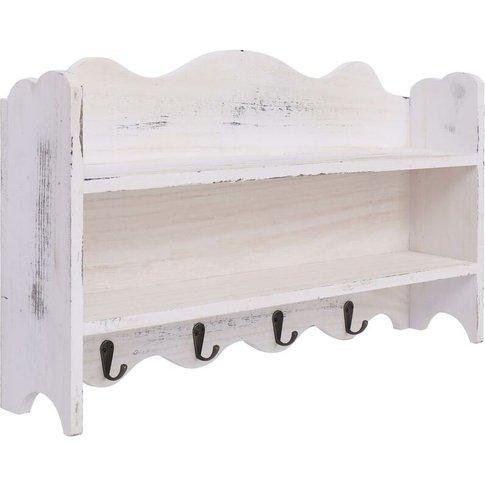 Wall Mounted Coat Rack White 50x10x30 Cm Wood - Youthup