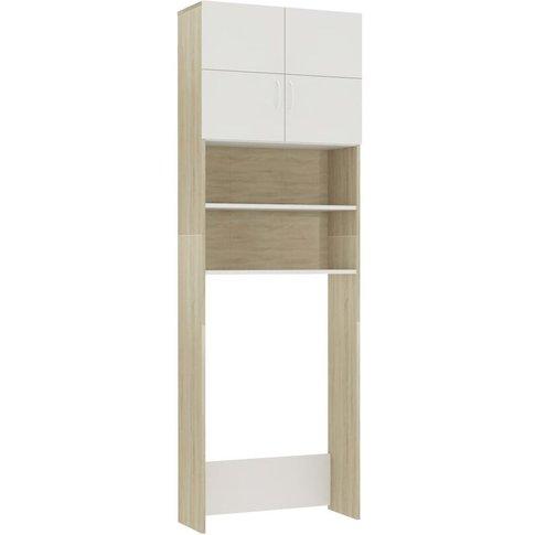 Washing Machine Cabinet White And Sonoma Oak 64x25.5...