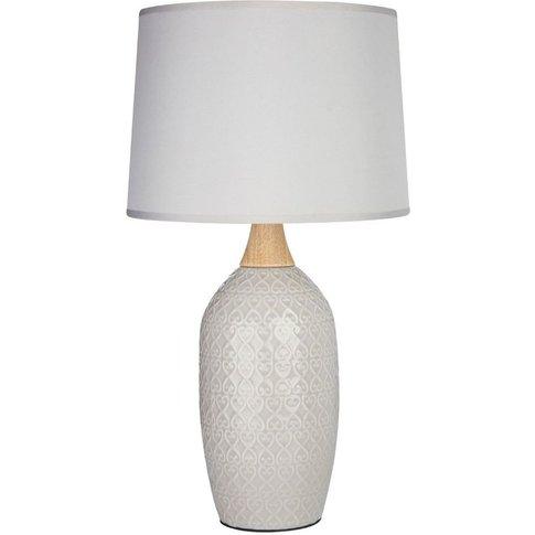 Premier Housewares - Willow Table Lamp, Grey Ceramic...
