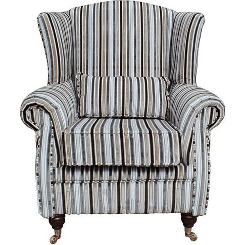 Wing Chair Fireside High Back Armchair Riga Stripe N...