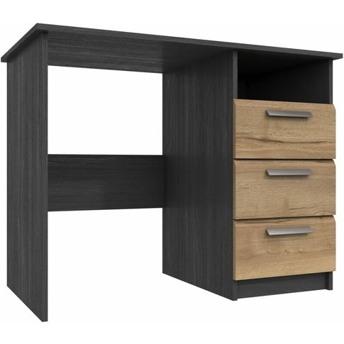 Wister Three Draw Dressing Table Graphite And Natural Rustic Oak - Netfurniture