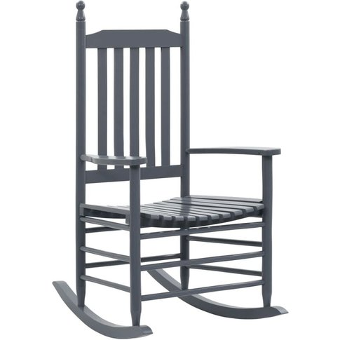 Rocking Chair With Curved Seat Poplar Wood Grey - Vi...