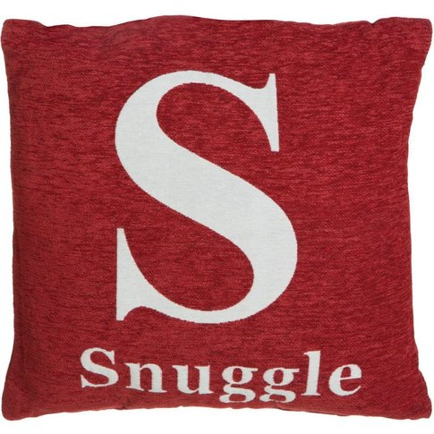 Words Cushion, 'Snuggle', Red Chenille Jacquard Fini...
