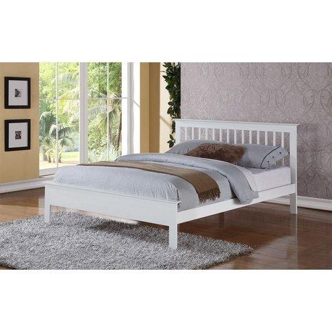 Flintshire Pentre Hardwood White Finish Bed Frame, S...