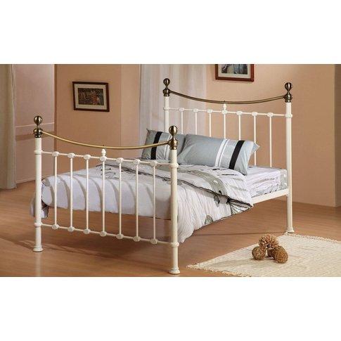 Time Living Elizabeth Metal Bed Frame, King Size, Ivory