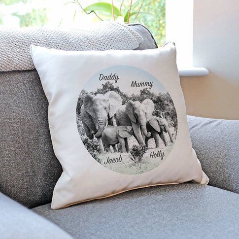 Personalised Elephant Family Cushion