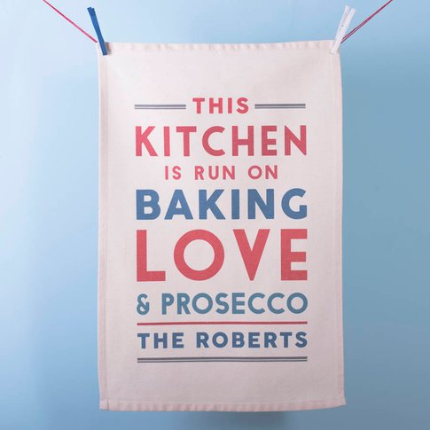 'This Kitchen Runs On' Personalised Tea Towel, Blue/...