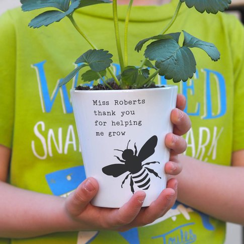 'Bee' Personalised Teacher Plant Pot Gift