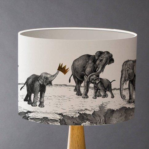 Elephants Lampshade, White/Gold