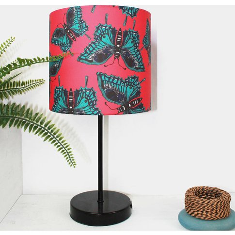 Pink Botanical Butterfly Lampshade