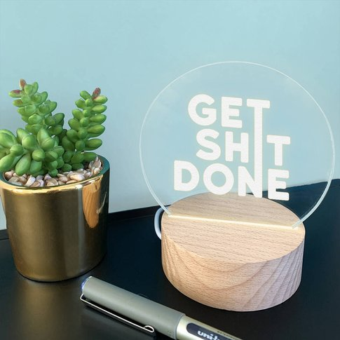 Engraved 'Get Shit Done' Mini Desk Lamp