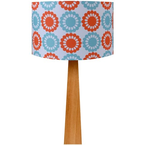 Retro Floral Red And Blue Oak Table Lamp, Blue