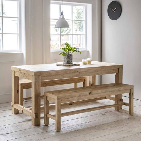 Raw Pine Dining Table And Bench Set