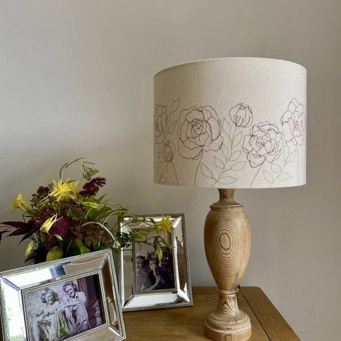 Peonies Embroidered Lampshade