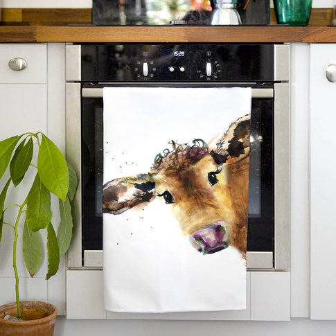 Inky Cow Tea Towel