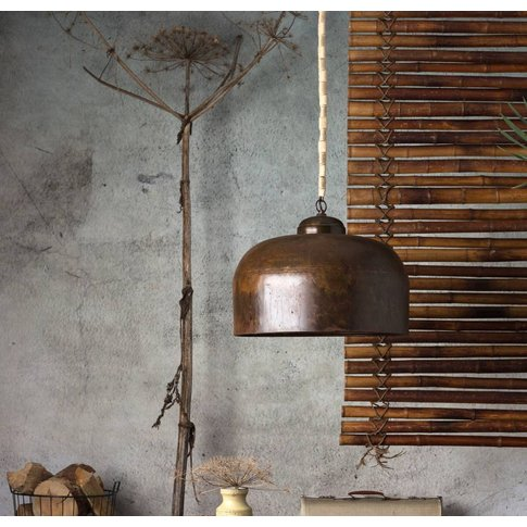 Large Burnished Copper Pendant Light